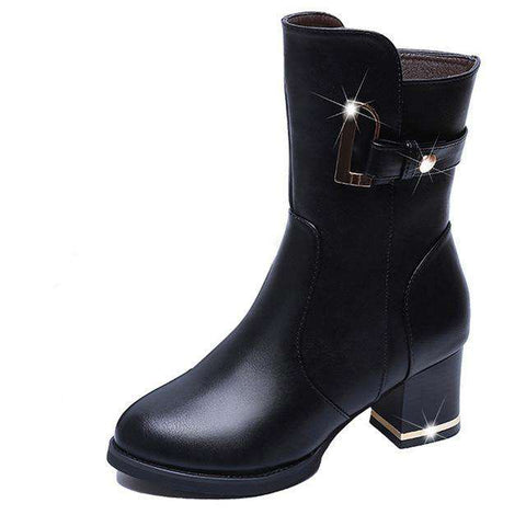 Velvet PU Leather Mid Cuf Boots