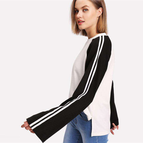 Striped Raglan Sleeve Black And White Round Neck Long Sleeve Casual T Shirt