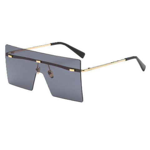 Rimless Oversized Vintage Metal Frame Square Unisex Siamese Retro Sun Glasses - Wear.Style