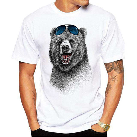 Laughing Bear Short sleeve Retro Printed T Shirts