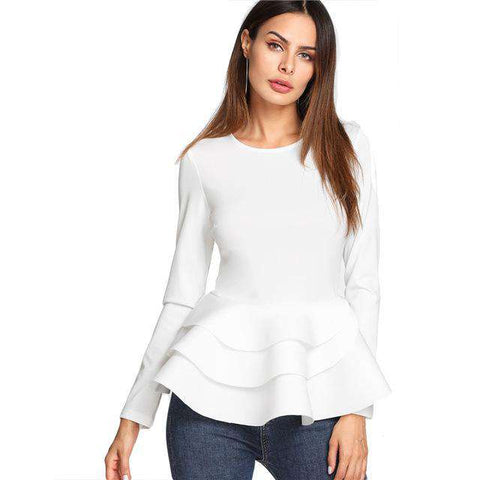 Round Neck Tiered Ruffle Hem Long Sleeve Peplum Top