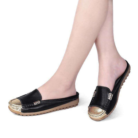 Genuine leather Handmade Patchwork Gold Black Flat With Slides Breathable Sandal Half Shoes