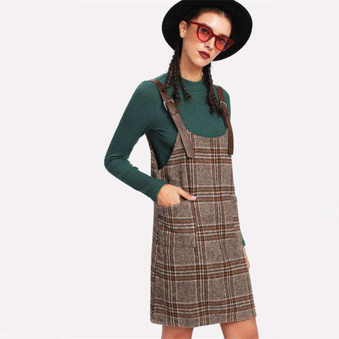 Tartan Plaid Buckle Detail Overall Pinafore Twin Pocket Khaki Shift Sleeveless Dress