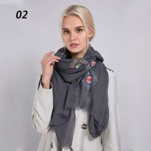 Cotton Linen Blend Print Floral Embroidery Scarf