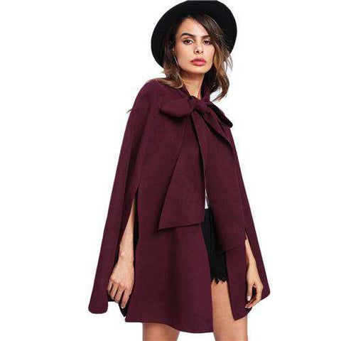 Elegant Fall Burgundy Long Sleeve Slit Back Tied Front Cape Coat