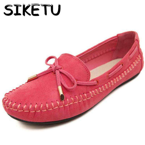 Flat Heel Bow Knot Round Toe Candy Colour Loafer