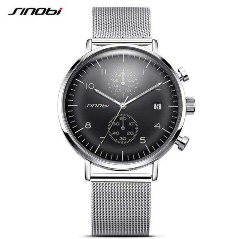 Sports Quartz Stainless Steel Mesh Multi-function Chronograph Watch