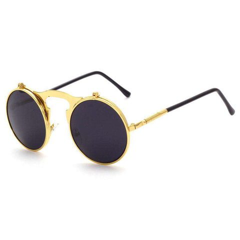 Flip Up Steampunk Small Round Retro Metal Frame Trendy Sunglasses