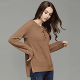 Lace Up Long Sleeve Warm Pullover - Wear.Style