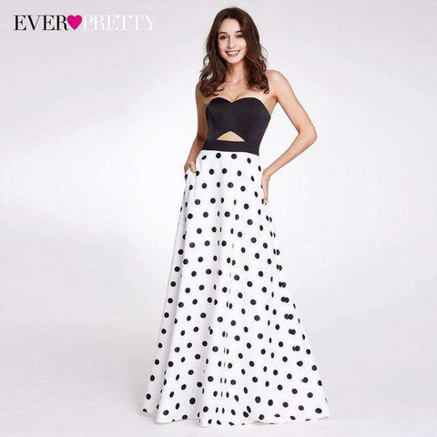 A-line Strapless Polka Dot Printed Sleeveless Off Shoulder Long Party Dress