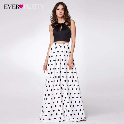 Two-Piece Halter A-line Sleeveless Cross Back Polka Dot Printed Prom Gown