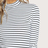 Slim Striped Fitted Black And White Striped Crew Neck 3/4 Sleeve T Shirt