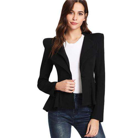 Notched Collar Long Sleeve Black Structured Shoulder Layered Collar Peplum Jacket