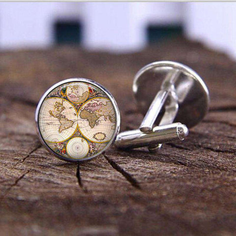 Charms Map Plated Glass Cabochon Cufflink - Wear.Style
