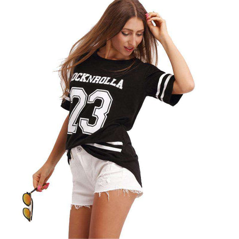 Crew Neck Varsity Print Black Striped Round Neck Short Sleeve TShirt