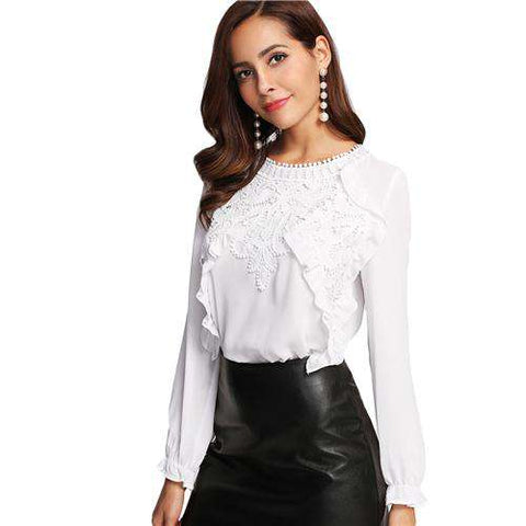 Long Sleeve Ruffle White Round Neck Applique Front Frilled Cuff 	Top