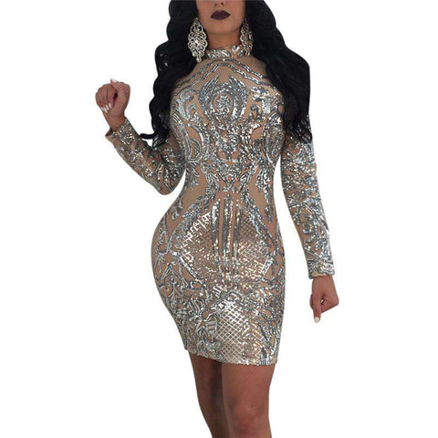 High-end Sequin High Stretch Sexy Perspective Mesh Silver Turtleneck Long Sleeve Dress