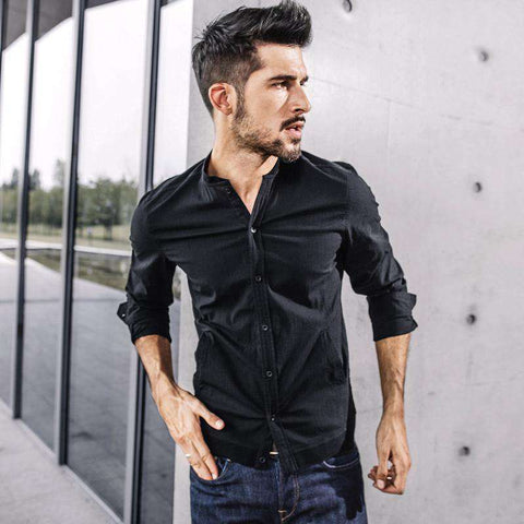Long Sleeve Black Single Breasted Shirt