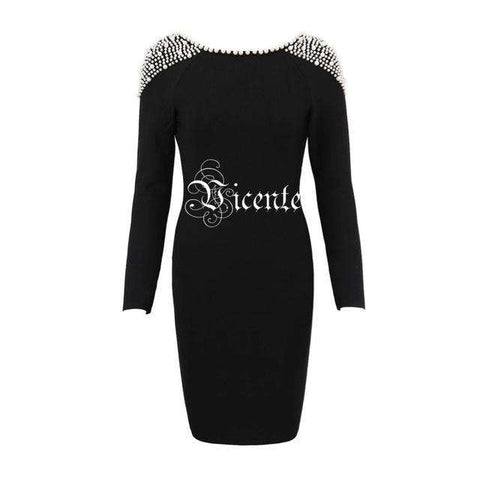 Elegant Pearl Embellished Long Sleeves Sexy Backless Dress