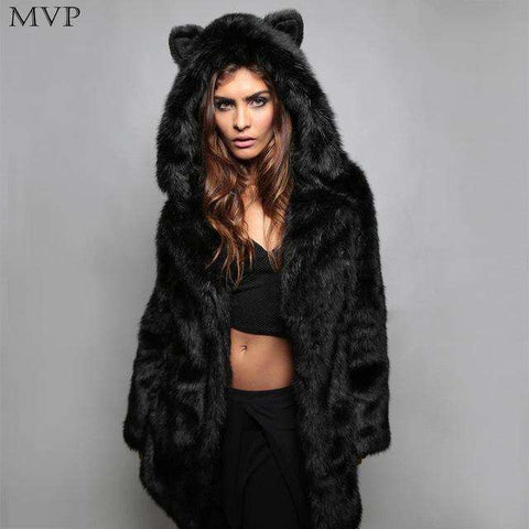 Fur Faux Hooded Long Sleeve Solid Thick Warm Slim Coat - Wear.Style