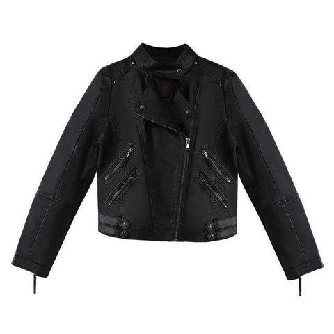 Turn-down Collar Faux Leather Zippers Jacket