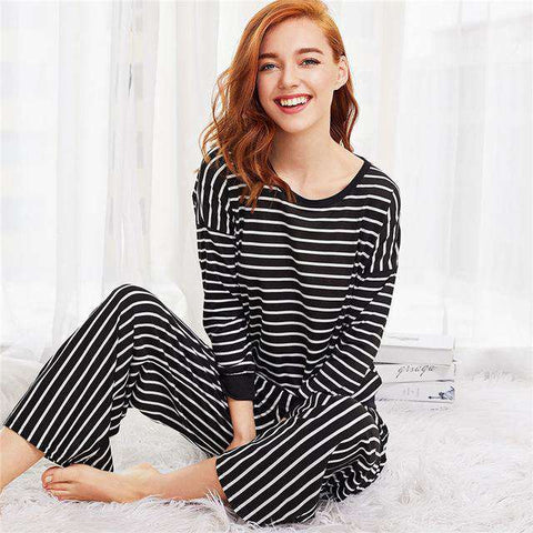 Black Striped Round Neck Long Sleeve Pajama Sleepwear