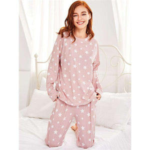 Stars Print Pink Long Sleeve Round Neck Pajama Sleepwear Set
