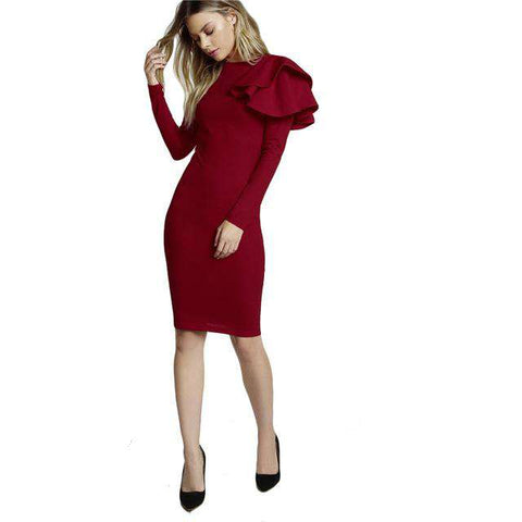 Burgundy Round Neck Long Sleeve One Side Tiered Ruffle Trim Dress