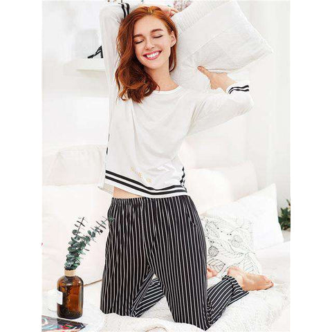 Slit Detail Striped Round Neck Long Sleeve Black And White Pajama Sleepwear Set