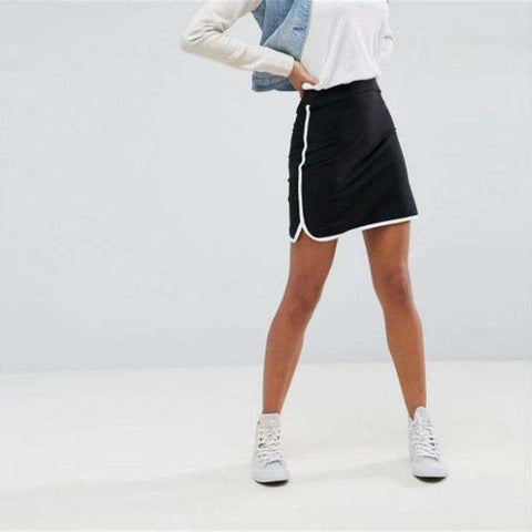Summer Skirt Fashion Casual Black White Edge A-Line Elastic High Waist Mini Skirts