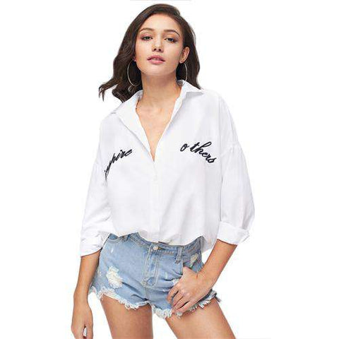 Long Sleeve White Letter Embroidery Turn-down Collar Plain Shirt