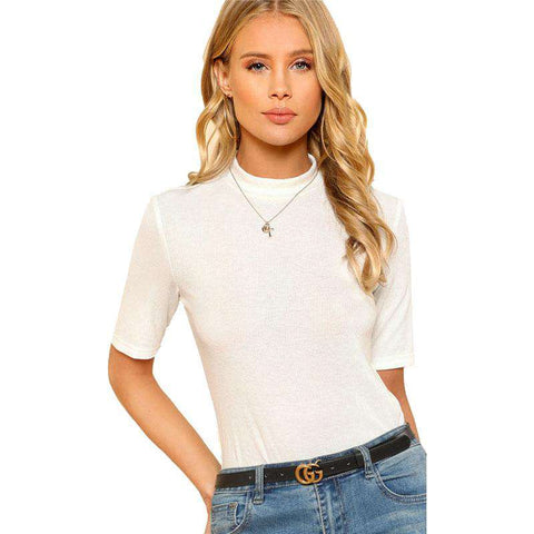 Mock Neck Rib Knit White Stand Collar Slim Fit Short Sleeve Stretchy T Shirt
