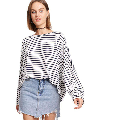 Drop Shoulder Striped Dolman Round Neck Batwing Sleeve Long Sleeve Casual T Shirt