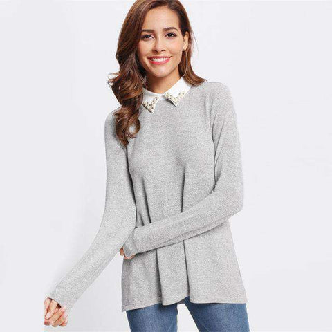 Contrast Beading Collar Grey Long Sleeve Top