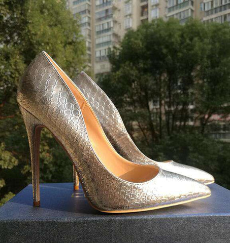 Snake Leather Pointed Toe Pumps Gold High Heels Shoes Sandals