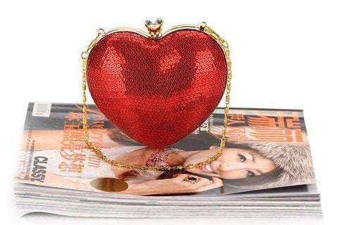 Red Heart Shape Sequins Crystal Clutch Bag - Wear.Style