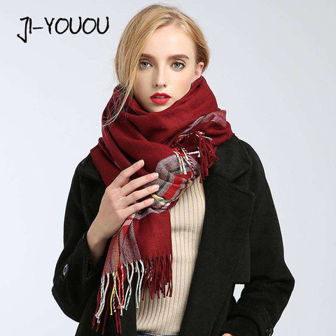 Plaid Warm Cotton Long Scarf - Wear.Style