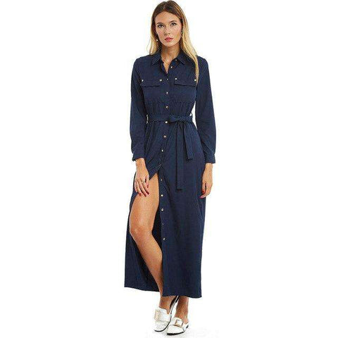 Long Sleeve Lapel Single Button Navy Blue Split Long Maxi Dress