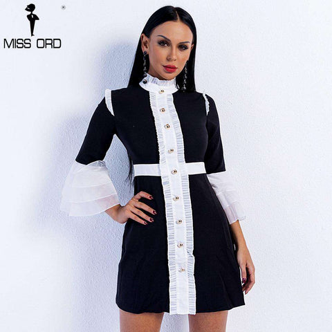 High Neck Flare Sleeve Button Mini Dress