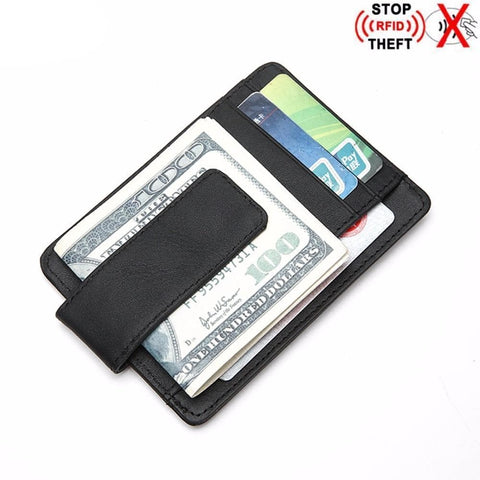 RFID Blocking Genuine Leather Minimalist Ultra thin Slim Short Wallet