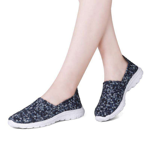Breathable Handmade Elastic Woven Flat Slip On Blue Gingham Shoes