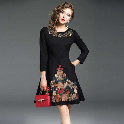 Floral Embroidery A-line Black Slim Party Dress