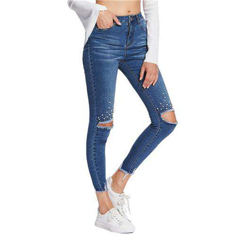 Mid Waist Button Zipper Fly Pearl Beading Destroyed Cut Hem Skinny Blue Jeans
