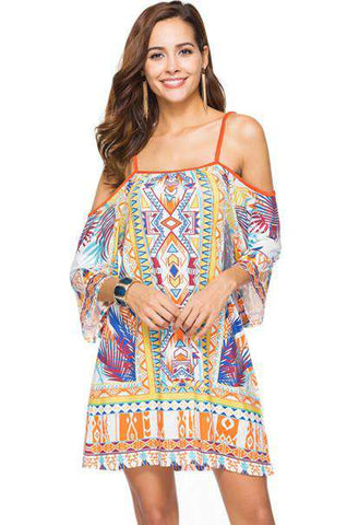 Bohemian Print Mini Half Sleeve Off Shoulder Strap Dress - Wear.Style