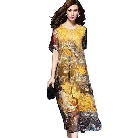 Flower Print Chiffon Short Sleeve Long Maxi Dress - Wear.Style