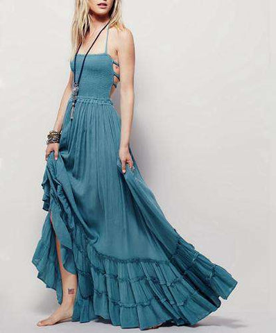 Sexy Boho Long Backless Cotton Dress - Wear.Style