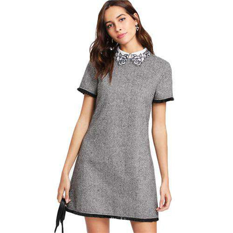 Elegant Black and White Short Sleeve Embroidered Contrast Collar Dress