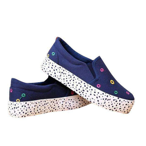 3CM Platform Dot Canvas black white Shoes