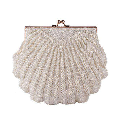 Pearl Beaded Fashion Shell Chain Clutch Bag - Wear.Style