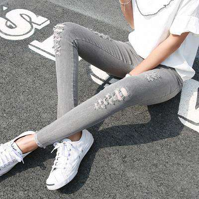 Pencil Skinny Distressed Holes Stretch washed High Waist Pants - Wear.Style